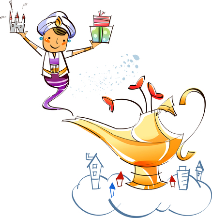 Genie appearing from a magic lamp holding a house and gifts