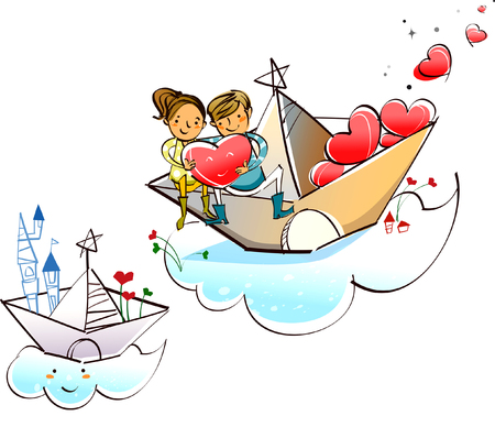 Couple sitting on a paper boat and holding a heart shape Illustration