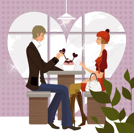 Side profile of a couple sitting in a restaurant Illustration