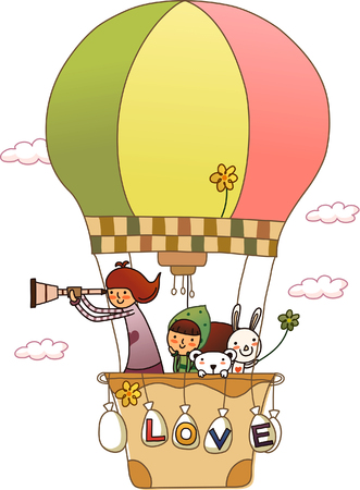 Man in a hot air balloon and looking through a hand-held telescope with a woman beside her