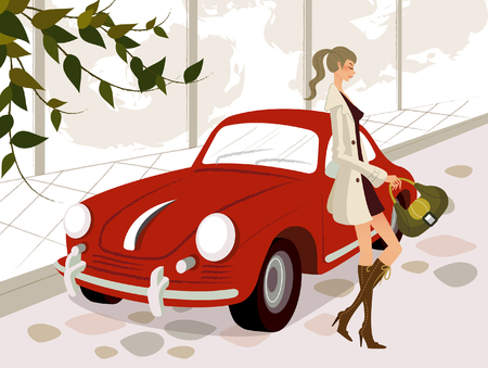 knee boots: Side profile of a woman leaning against a car Illustration