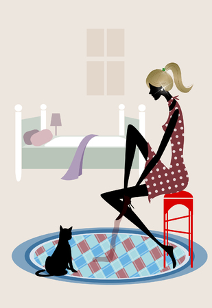 Side profile of a woman sitting on a stool with her cat Illustration