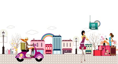 歩道走行モーター スクーター、2 人の女性の女性の横顔