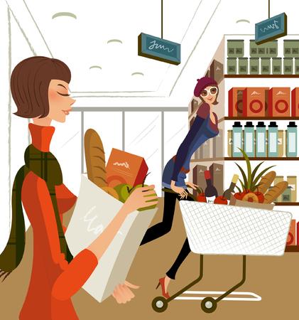 スーパーで買い物する 2 人の女性の横顔