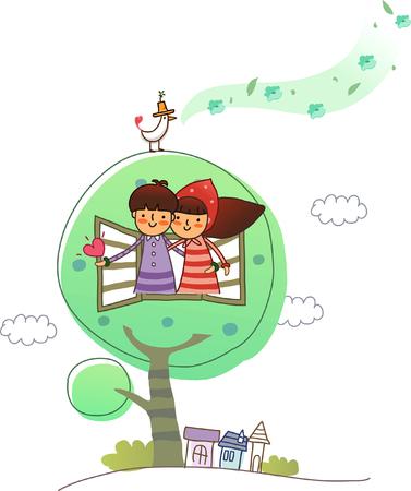 Couple on a tree house