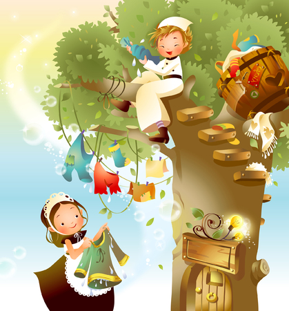 Girl drying clothes with a boy sitting on a tree branch Illustration