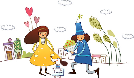 plant stand: Man giving a bouquet of flowers to a woman Illustration