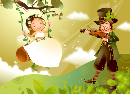 Boy playing a violin with a girl swinging near him Illustration