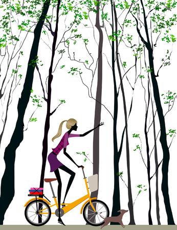 Side profile of a woman riding a bicycle Ilustração