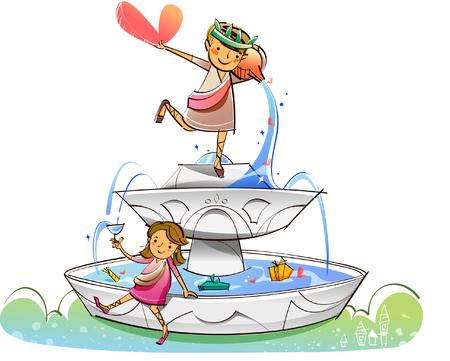 Couple on a fountain