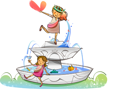 Couple on a fountain