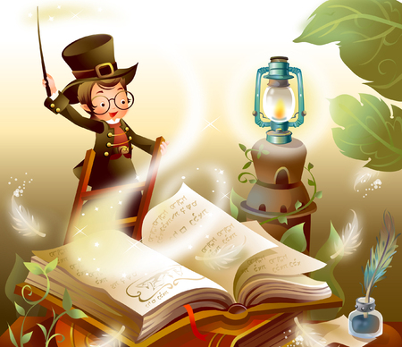 ink well: Boy holding a magic wand and reading a book