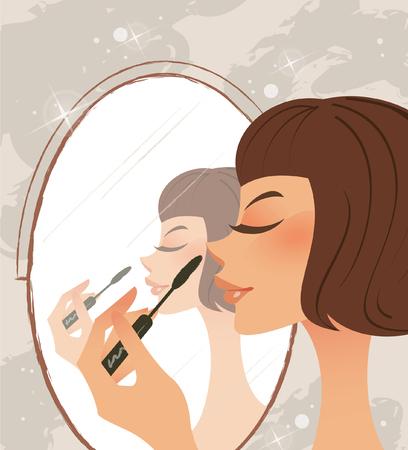 Close-up of a woman applying mascara Illustration