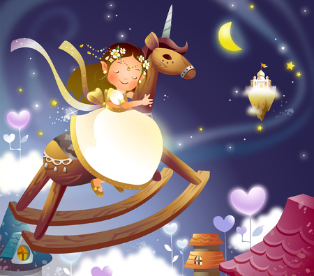 Girl riding a rocking horse