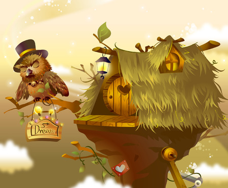 thatched: Owl perching on a branch beside a birdhouse