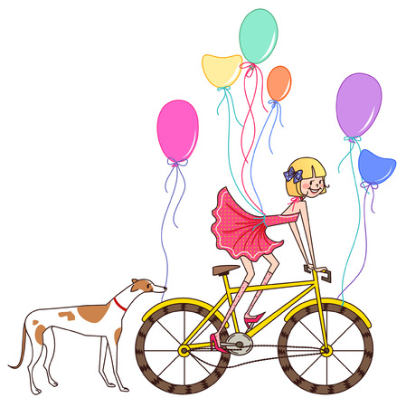 Girl riding a bicycle with a dog behind her