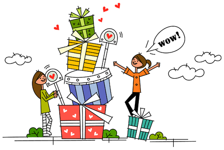 Two women standing with a stack of gifts
