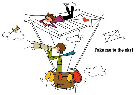 Man standing in a hot air balloon with a woman on it Illustration