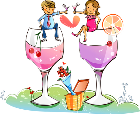 Couple sitting on stem glasses and toasting with cocktails