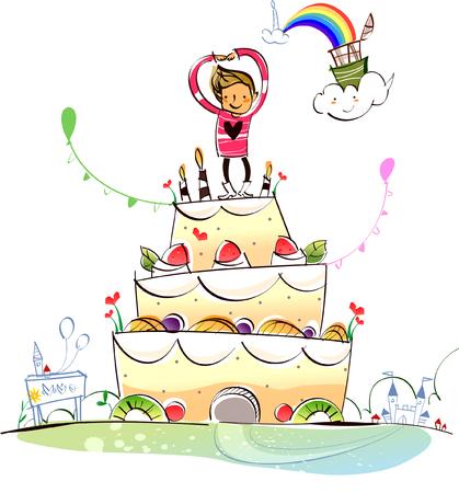 Man standing on a birthday cake