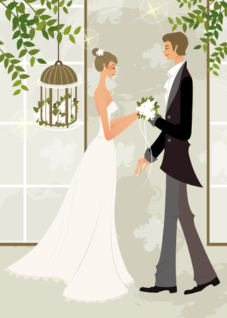 Side profile of a man giving a bunch of flowers to a woman Illustration