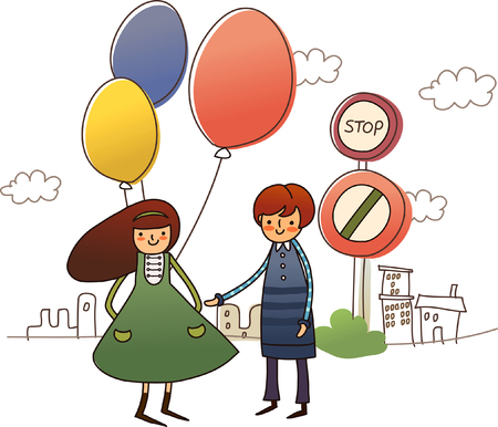 Woman holding balloons with a man standing beside her