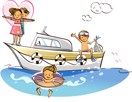 boy swim: Man standing with an inflatable ring and a couple standing on a motorboat Illustration