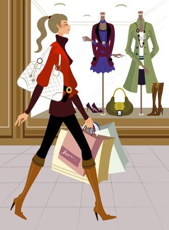 店の前に買い物袋を運ぶ女性の横顔 写真素材 - 78588881