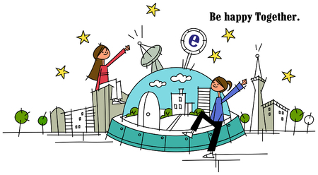 Woman sitting on a UFO with another sitting on a building Illustration