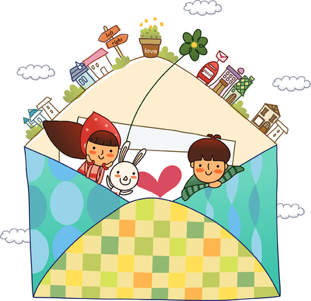 Couple inside an envelope with a rabbit