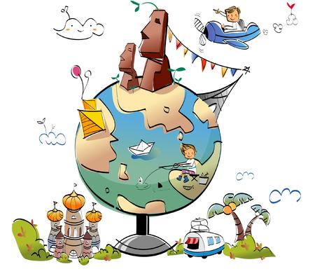 global communication: Worlds famous places around the globe Illustration