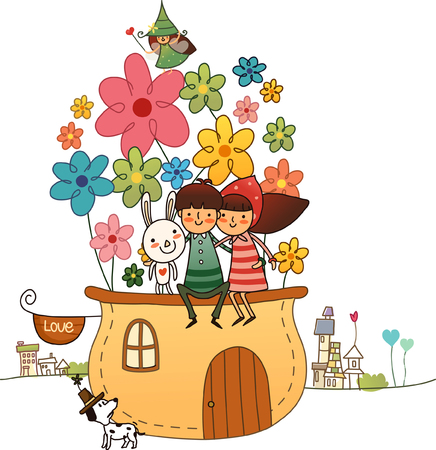 Couple sitting on a roof of a house with a rabbit Illustration