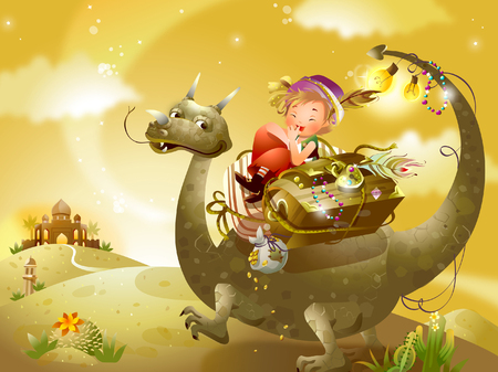 Side profile of a boy riding a dinosaur with a treasure chest