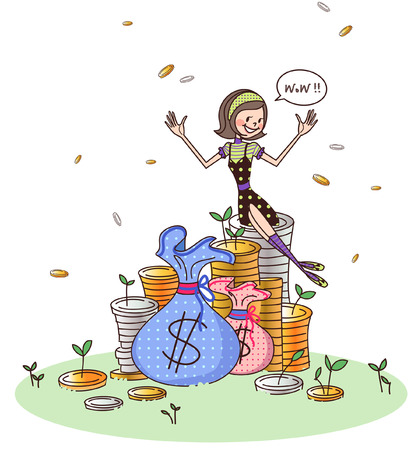 outstretched: Girl sitting on a stack of coins and smiling Illustration
