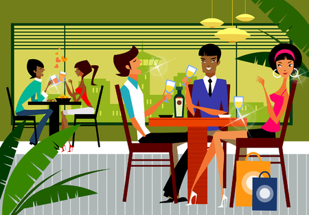 Five people sitting in a restaurant Illustration