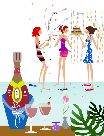 Champagne bottle in an ice bucket with three women in the background Ilustrace