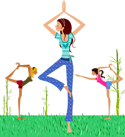Three women practicing yoga on the lawn