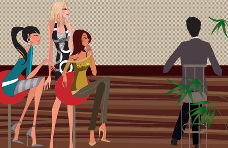 Three women looking at a man sitting at a bar counter