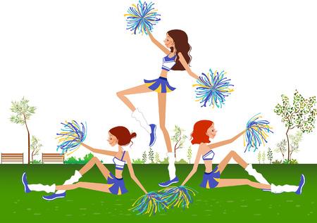 Side profile of three cheerleaders Illustration