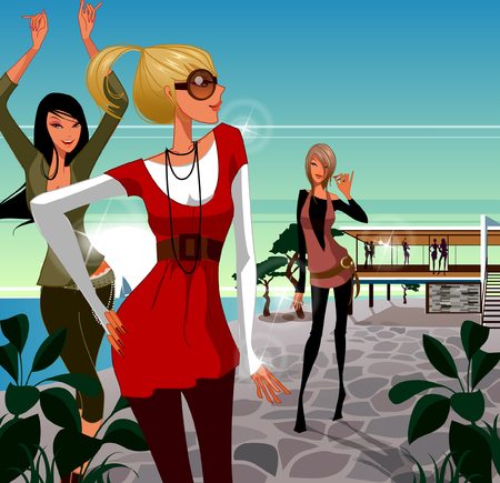 Three women dancing on the beach