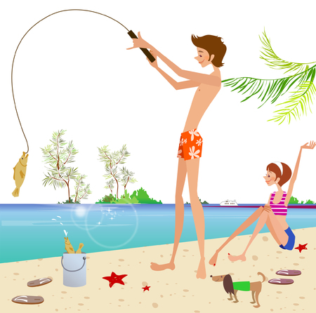 Side profile of a man standing on the beach and fishing Illustration