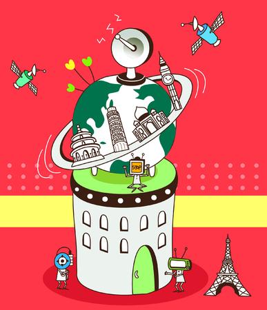 leaning tower of pisa: Close-up of international landmarks around the globe