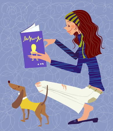 crouching: Side profile of a woman reading a book with a puppy standing near her