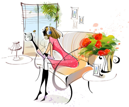 Side profile of a woman sitting on a couch and listening to personal compact disc player Illustration