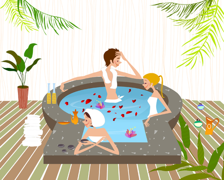 High angle view of two women and a man in a bathtub