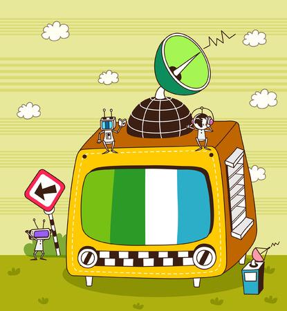 テレビの衛星放送受信アンテナのクローズ アップ