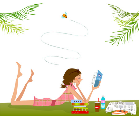 woman looking down: Side profile of a woman lying on the grass and reading a book Illustration