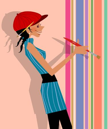 Side profile of a woman painting the wall with a paintbrush