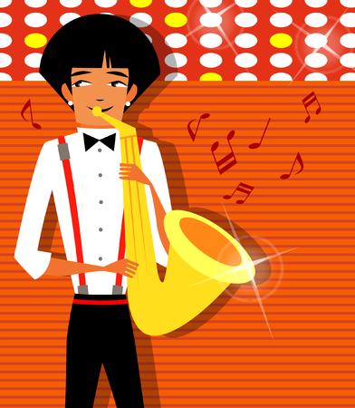 Close-up of a musician playing a saxophone Иллюстрация