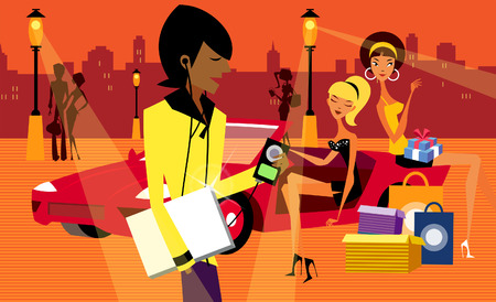 バック グラウンドで 2 人の女性と MP3 プレーヤーを聞いている男性の横顔